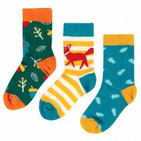 Kinder Bio Socken 3er Pack Fuchs gelb