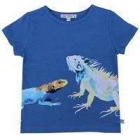 Edles T-Shirt Reptil-Druck in blau