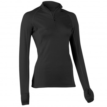 Wolle Seide Damen Zip-Shirt langarm schwarz Slim Fit