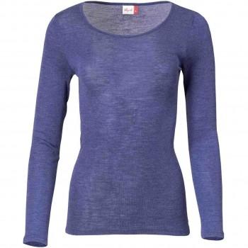 Damen Wolle Seide Langarmshirt kobaltblau
