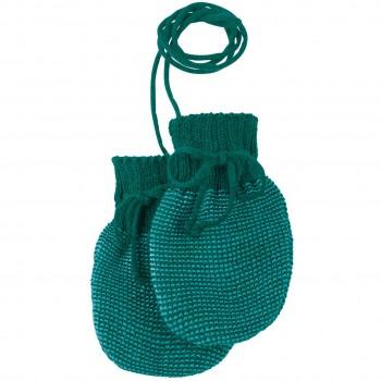 Baby Strickhandschuhe aus Schurwolle petrol