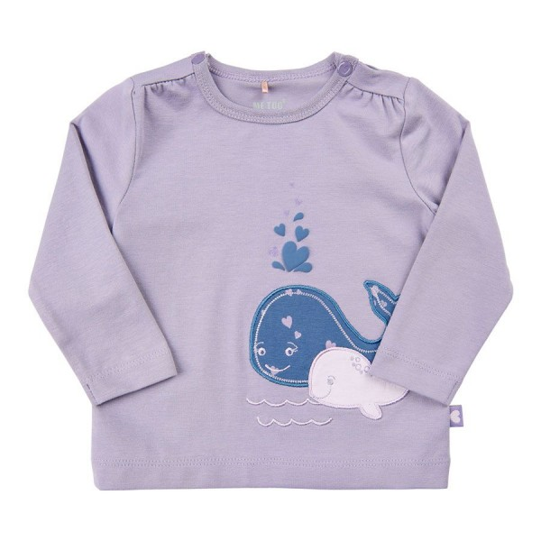 Wal-Aufnäher Langarmshirt in lila