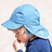 Sonnenhut mit Ohrenschutz UV 20 kurzer Nackenschutz bleu
