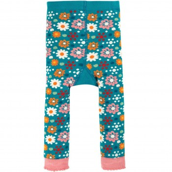 Strick Leggings Blumen in petrol