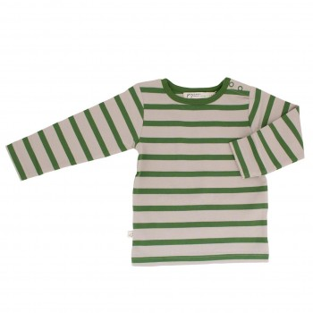 Shirt Langarm creme-grün gestreift