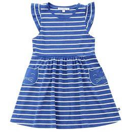 Bio Kleidchen mit Rüsche royal blau