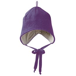 Wolle Wintermütze breiter Ohrenschutz lila