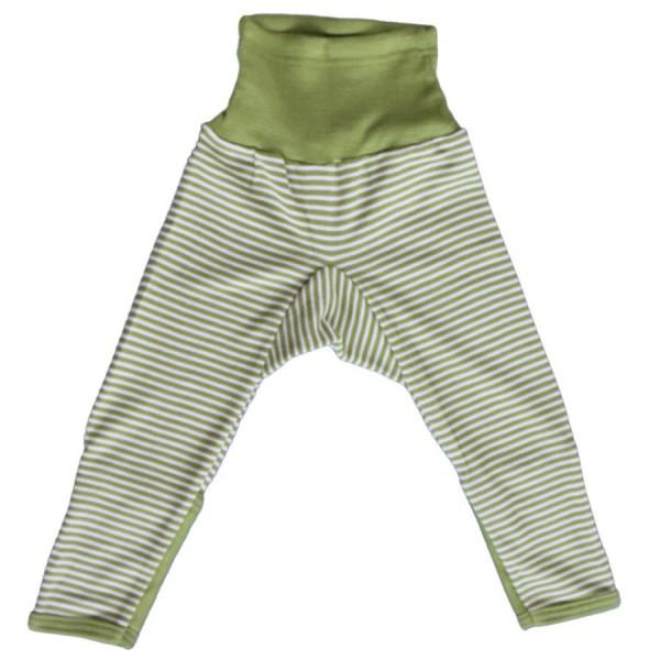 Wolle Seide mitwachsende Babyhose mit Umschlagbund gestreift
