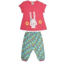 Vorschau: Frugi Set aus Babyshirt und langer Hose mit Hasen Motiv