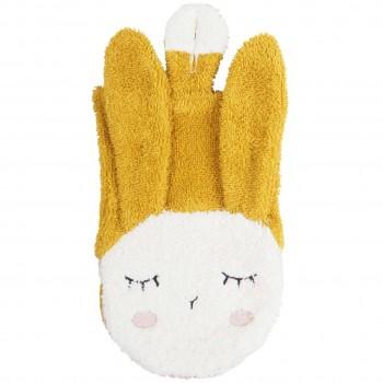 Baby- und Kinder Waschlappen Hase gelb