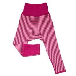 Mitwachsende Wolle Seide Hose pink gestreift Kratzschutz