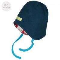 Mütze zum Wenden und Binden Fleece in dunkelblau