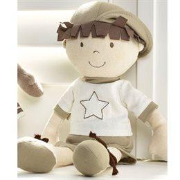Bio Stoff Puppe Junge Nathan - ungefärbt