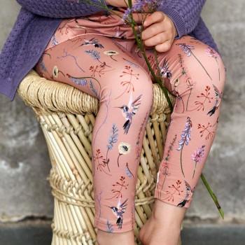 Edle Leggings elastisch Kolibris rosé
