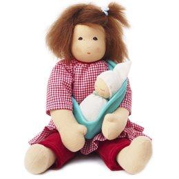 Nanchen Stoffpuppe Mutter mit Kind - mehrteilige Bekleidung