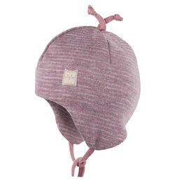 Wolle Seide Babymütze doppellagig atmungsaktiv rosa grau