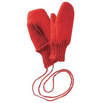 Fäustel Handschuhe Schurwolle mit Gelenkbündchen rot