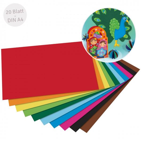 10 verschiedene Farben 20 Blatt Tonzeichenpapier DIN A4