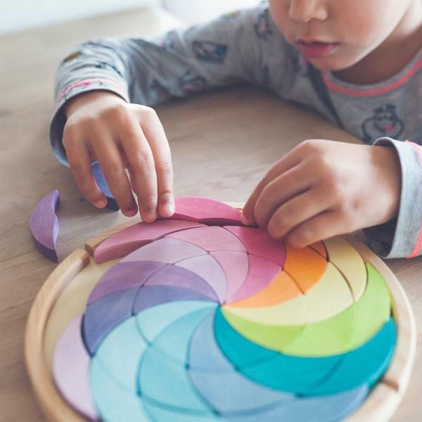 Bauspiel Farbenrad Mandala ab 3 Jahren pastell