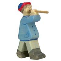 Hirte mit Flöte Krippenfigur aus Holz