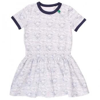 Sommer Wellen Kleid navy-weiß