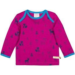 Wolle Baumwolle Shirt Waldtiere beere