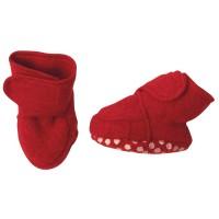 Vorschau: Warme Babyschuhe mit Klettverschluss und Stoppern rot