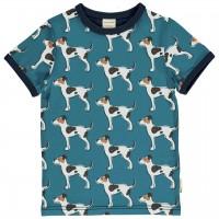 Kurzarmshirt Hunde blau