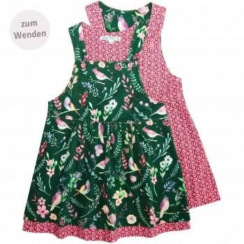 Blumen Wende Trägerkleid Flanell in grün-pink