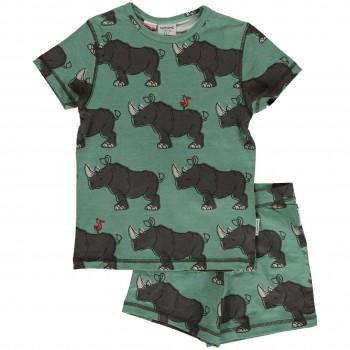 Sommer Pyjama Nashorn grün