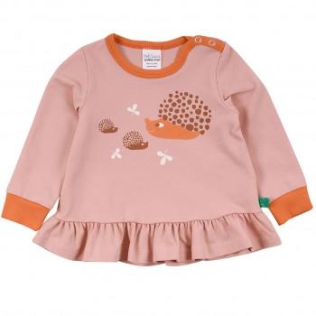 Langarmshirt mit Schößchen Igel Familie rosa