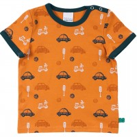 Shirt kurzarm Autos Alloverprint in karamell