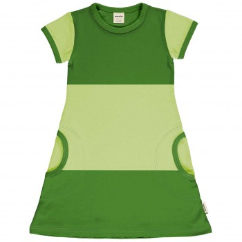Leichtes Kleid kurzarm im Block-Design Grüntöne
