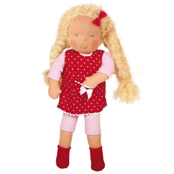 Waldorf Puppe Organic rotes Kleid - Amelie