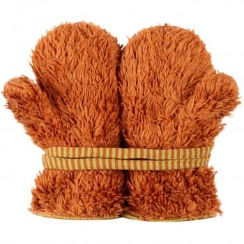 Plüsch Handschuhe Biobaumwolle karamell-braun