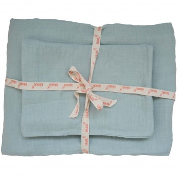 Kinder Bettwäsche Set mint blau 100x135 cm