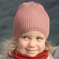 Kinder Strick-Beanie Schurwolle in rosa