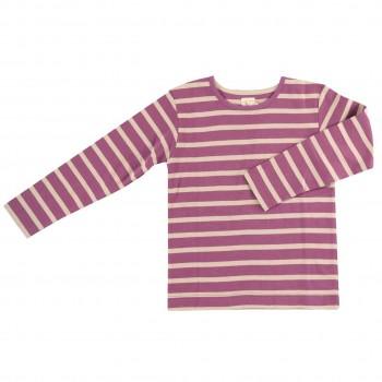 Hochwertiges Shirt lila-creme gestreift