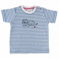 T-Shirt mit Robben Aufnäher blau