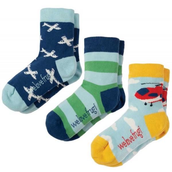 Kinder Jungen Bio Socken 3er Pack Flugzeuge
