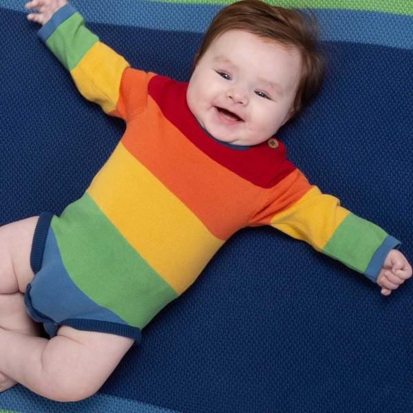 Strick Babybody langarm Regenbogen-Design