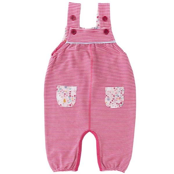 Baby Latzhose warm Ringel rosa-pink