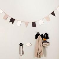 Wimpelkette Stoff 3 m – Geburtstagsgirlande schwarz-weiß