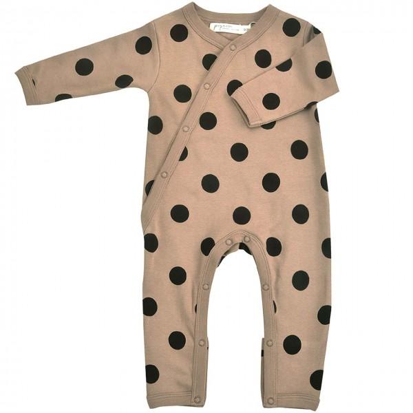 Baby Strampler mit Fußumschlag - Punkte schwarz-braun