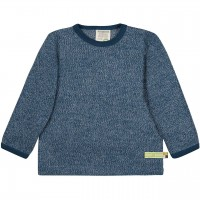 Strick Shirt langarm in dunkelblau melange