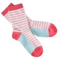 Feinstrick Socken Ringel rosa blau