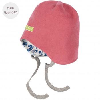 Mütze zum Wenden und Binden Fleece altrosa
