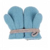 Bio Schurwolle Baby Handschuhe eisblau