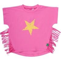 Vorschau: Cooles Fransen T-Shirt für Mädchen - pink