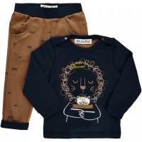 2er Set Shirt mit Hose Löwe braun-navy